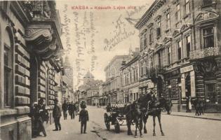 Kassa, Kosice; Kossuth Lajos utca, Kafcsák Vilmos üzlete / street, shops (EK)