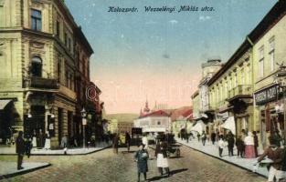 Kolozsvár, Cluj; Wesselényi Miklós utca, Hirsch Adolf üzlete / street, shop