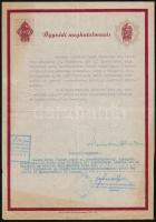 1943 Ügyvédnek adott meghatalmazás válás ügyében, okmánybélyegekkel