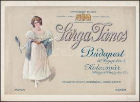 1906 Bp.IV., Kígyó tér, Sárga János ékszerész üzletének díszes reklámlapja