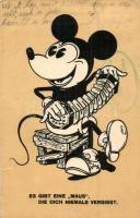 Es gibt eine Maus, die dich niemals vergisst / Mickey Mouse with accordion, Walt Disney (kis szakadás / small tear)