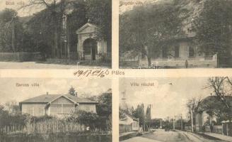 Ópálos, Ópaulis, Paulis; Bódi villa, Bogdán villa, Baross villa, Wolf Gáspár kiadása / villas (EK)