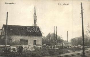 Borossebes, Sebis; Gyár részlet, vasúti sínek / factory, railways
