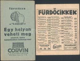 1937 Bp.VIII., Blaha Lujza tér, A Corvin Áruház 2 db árjegyzéke