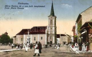Karánsebes, Caransebes; Mária Terézia tér, Római katolikus templom, Reisz üzlete / square, church, shop