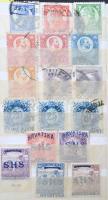 Régi maradék gyűjtemény, benne osztrák és magyar bélyegek, közte Pengő-fillér, Kuk, stb. Schaubek zseb berakóban