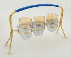 Retro kupica tartó poharakkal, hibátlan, h:24 cm, m:4,5 cm ( 6×)