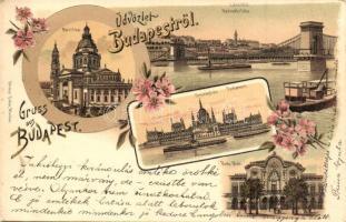 1899 Budapest, Bazilika, Lánchíd, Országház, Park Klub, floral Ottmar Zieher, litho (EK)