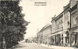 Gyulafehérvár, Alba Iulia; Európa szálloda, utcakép, népbank, Judovits üzlete / hotel, bank, shops