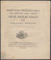1806 Marosvásárhely, Horvátországi Bán nagyméltóságú marosnémeti Gróf Gyulay Ignác úr tiszteletére kiadott vers