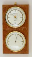 NDK Fischer fali barométer és hőmérő, fa tokban, 20×11 cm