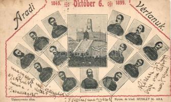 1948-1899 Arad, Vértanú szobor a 13 aradi vértanú arcképével. Muskát M. / martyrs statue with the 13 martyrs (vágott / cut)