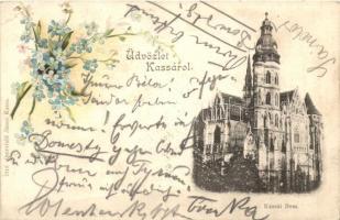 Kassa, Kosice; Dóm. Quirsfeld János / cathedral, floral litho (ázott / wet damage)