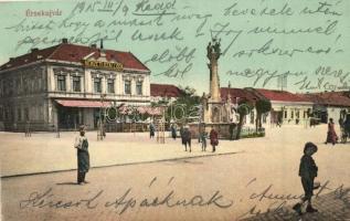 Érsekújvár, Nové Zamky; Nemzeti szálloda, Szentháromság szobor. Adler József kiadása / hotel, statue