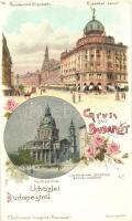 1899 Budapest, Erzsébet körút, Lipótvárosi Bazilika, floral, F. Schmuck litho