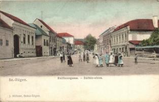 Szászrégen, Reghin; Bálház utca, J. Hübner kiadása / street