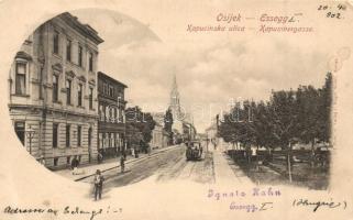 Eszék, Osijek, Esseg; Kapucinus utca lóvasúttal / street, omnibus (EK)