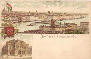Budapest, Operaház, Budapest címer, zászló, litho