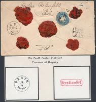 1865 15kr díjjegyes ajánlott levél 10kr díjkiegészítéssel, piros Recomandirt bélyegzéssel, ritka!