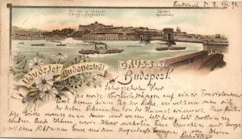 1893 (Vorläufer!) Budapest, Lánchíd, a Királyi vár és a várbazár, gőzhajó, floral, Ottmar Zieher litho