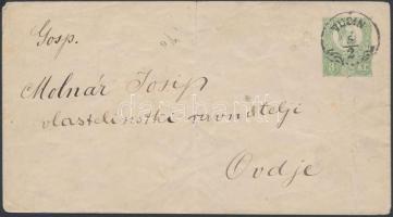1871 3kr díjjegyes levél VUCIN - Ovdje (hajtott, középen szakadás)