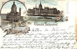 1896 (Vorläufer!) Budapest, Bazilika, Országház, floral, Louis Glaser litho (EB)