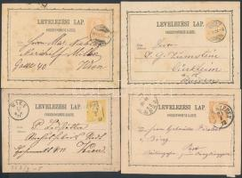 1871-1974 4 db 2kr díjjegyes levelezőlap, klf típusúak