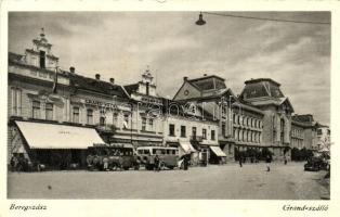 Beregszász, Berehove; Grand szálló, autóbuszok / hotel, autobuses (EK)