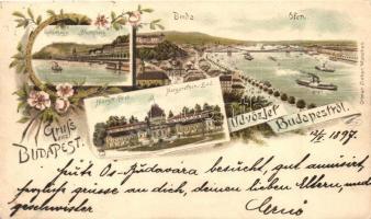 1897 (Vorläufer!) Budapest, Buda, Gellérthegy, Margit-fürdő, floral, litho. Ottmar Zieher