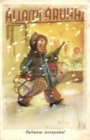 Kellemes ünnepeket kommunista propaganda, Állami Áruház reklámlap, Képzőművészeti Alap kiadása / communist propaganda, Christmas greeting card, advertisement (fl)