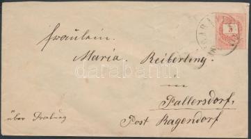 1874 5kr díjjegyes levél BARANYA - RAJKA bélyegzésekkel (Gudlin 80p + 350p)