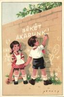Békét akarunk! Úttörő kommunista propaganda motívumlap / Hungarian Pioneer movement, Communist propaganda s: Németh