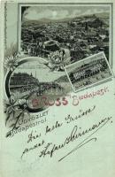 Budapest, Császár-fürdő, Ferenc József rakpart, floral, Kunstanstalt Rosenblatt litho