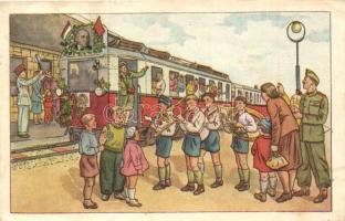 Úttörő kommunista propaganda lap, Rákosi Mátyás. Nemzeti Alkotások / Hungarian Pioneer Movement, Communist propaganda card (EK)