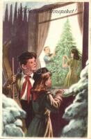 Kellemes karácsonyi ünnepeket, Úttörő kommunista propaganda lap. Művészeti Alkotások / Hungarian Pioneer Movement, Communist propaganda card (EK)