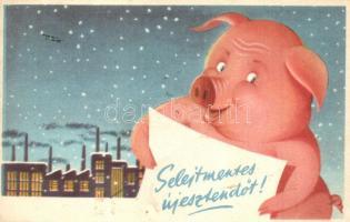 Selejtmentes Új Esztendőt. Művészeti Alkotások / Communist propaganda greeting card