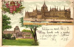 1897 (Vorläufer!) Budapest, Országház, Margitszigeti fürdőház, Schneider & Lux litho
