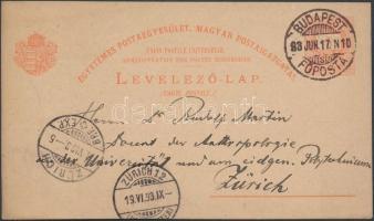 1893 5kr UPU díjjegyes levelezőlap Zürichbe küldve