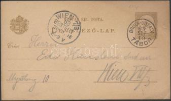 1898 2kr díjjegyes levelezőlap BRUCK-UJFALU / TÁBOR burgenlandi bélyegzéssel