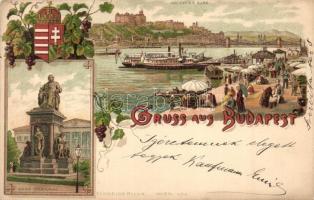 1899 Budapest, Királyi vár, Deák szobor, címer, Schneider & Lux litho