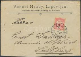 1904 Céges levél Turul 10f bérmentesítéssel BROD-NAGY KANIZSA 62 SZ vasúti bélyegzéssel Salzburgba küldve