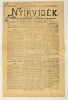 1898 Nyíregyháza, Nyírvidék, Szabolcs vármegye hivatalos lapja XIX. évfolyam 28. szám