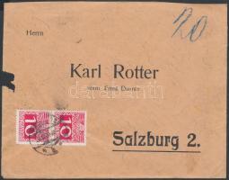 1909 Levél Turul 10f bérmentesítéssel, illetve 2 x 10H osztrák portóval PETROZSENY-PISKI 128 SZ vasúti bélyegzéssel Salzburgba küldve