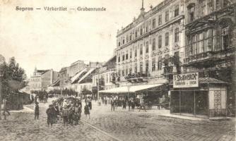 Sopron, Várkerület, Stollwerck csokoládé reklámja, utcakép (Rb)