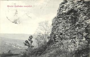 Várgede, Hodejov; Gedővára romok, Klein Márton kiadása / castle ruins (EK)