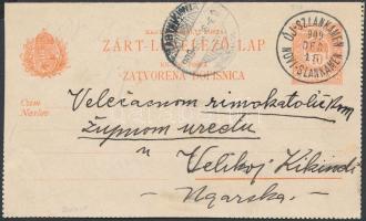 1909 10kr Zárt kétnyelvű levelezőlap ÚJ-SZLANKAMEN / NOVI-SLANKAMEN kétnyelvű bélyegzéssel