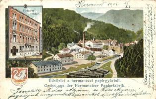 Hermánd, Hermanecz, Harmanec; Papírgyár, Budapesti raktár / paper factory, storage in Budapest s: K. Fuchs (fa)