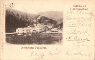 1899 Hermánd, Hermanecz, Harmanec; Papírgyár, kiadja Ivánszky Elek / paper factory