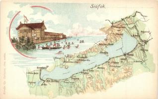 Siófok, Balaton térkép, Károlyi Gy. kiadása, litho