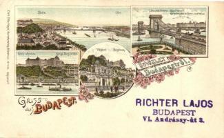 1897 (Vorläufer!) Budapest, Buda, Lánchíd, Várkert, Várpalota, Carl Otto Hayd No. 391. floral litho (EK)